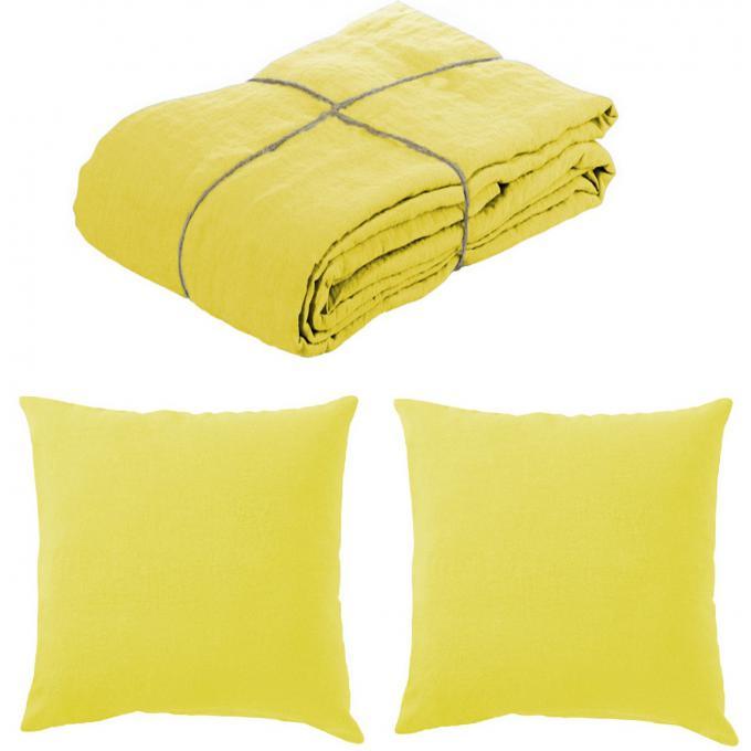 parure housse de couette lin lave 220x240 et 2 taies d 39 oreillers 65 x 65 citronnelle housse de. Black Bedroom Furniture Sets. Home Design Ideas