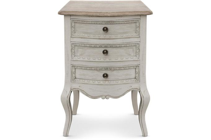 Table de chevet 3 tiroirs beige penelope table de chevet - Table de chevet miroir pas cher ...