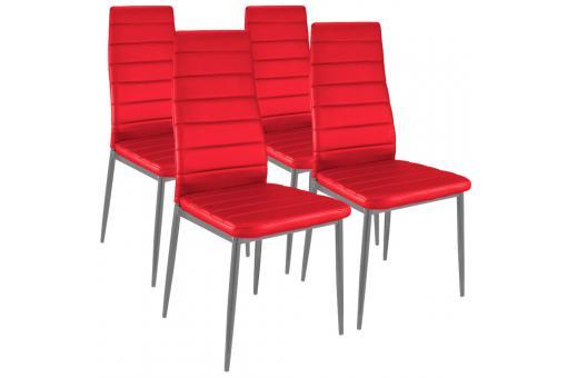 lot de 4 chaises design simili cuir rouge houston chaises design pas cher. Black Bedroom Furniture Sets. Home Design Ideas