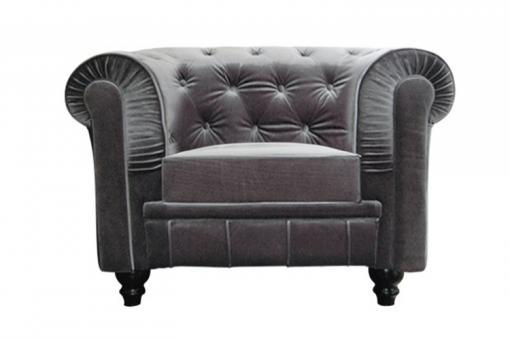 fauteuil chesterfield velours gris fauteuils classiques pas cher. Black Bedroom Furniture Sets. Home Design Ideas