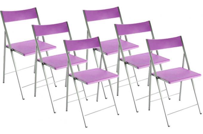 Lot de 6 chaises pliantes violettes bilbao chaise - Chaise de jardin pliante pas cher ...