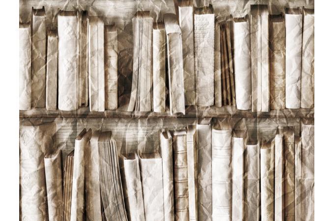 Papier peint trompe l 39 oeil biblioth que effet froiss - Produit pour decoller papier peint ...