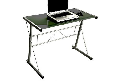 Table d 39 ordinateur noire en verre geminy bureau pas cher - Table ordinateur verre ...