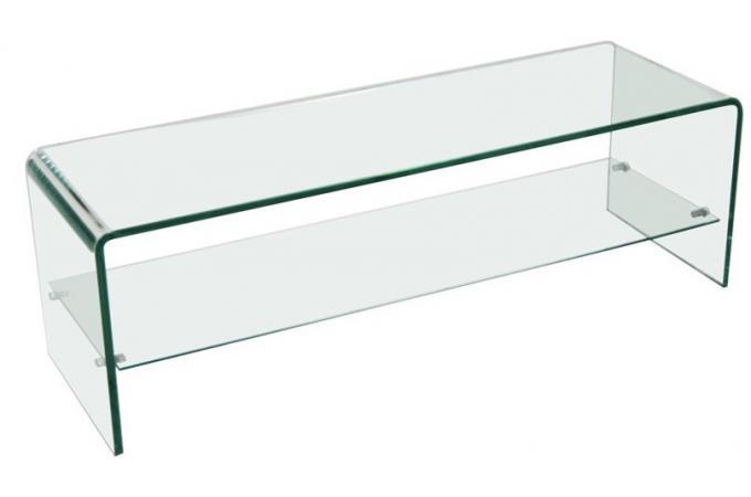 meuble tv 1 tag re en verre transparent courb otta. Black Bedroom Furniture Sets. Home Design Ideas