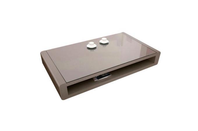 Table basse taupe plaqu e bois avec plateau en verre willy for Table basse en solde