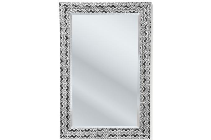 Miroir kare design argent mm en bois reva miroir - Miroir argente pas cher ...
