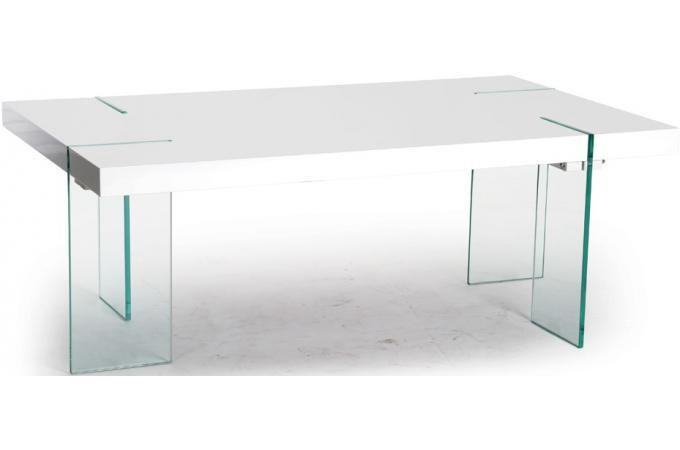 Table basse rectangulaire pieds verre transparent plateau - Table basse blanche et verre ...