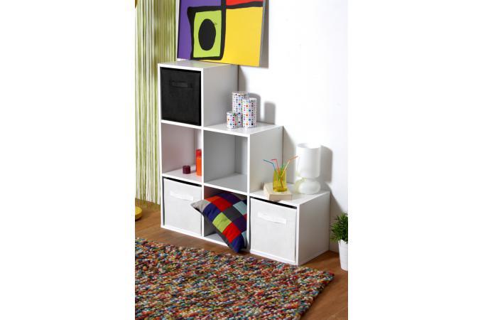 Escalier 6 cases blanc meuble de rangement pas cher for Meuble 6 cases blanc