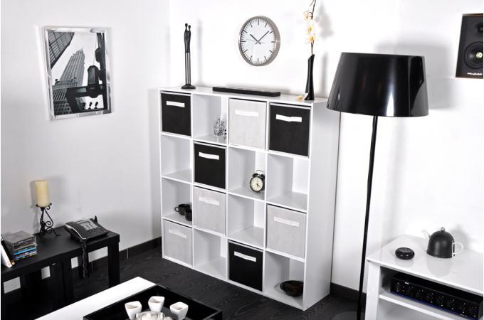Rangement 16 cases blanc meuble de rangement pas cher for Meuble 16 cases