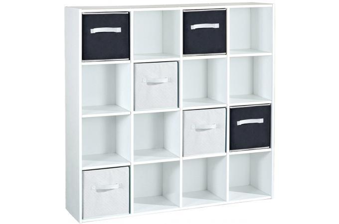 rangement 16 cases blanc meuble de rangement pas cher. Black Bedroom Furniture Sets. Home Design Ideas