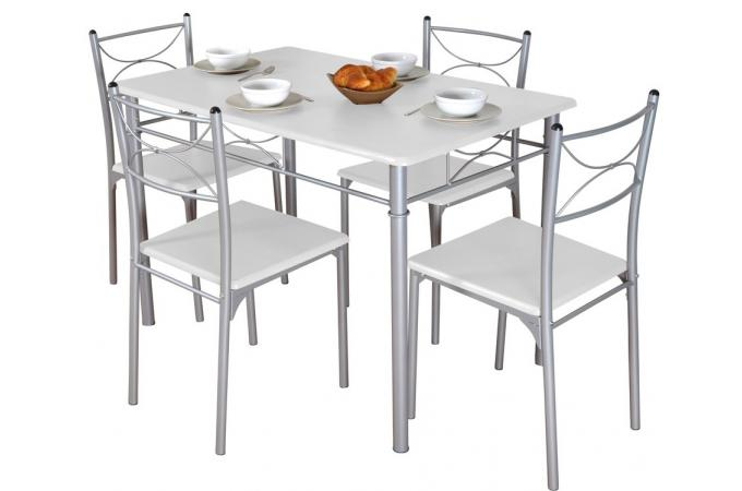 Ensemble s jour table et 4 chaises blanc table for Table et chaise sejour