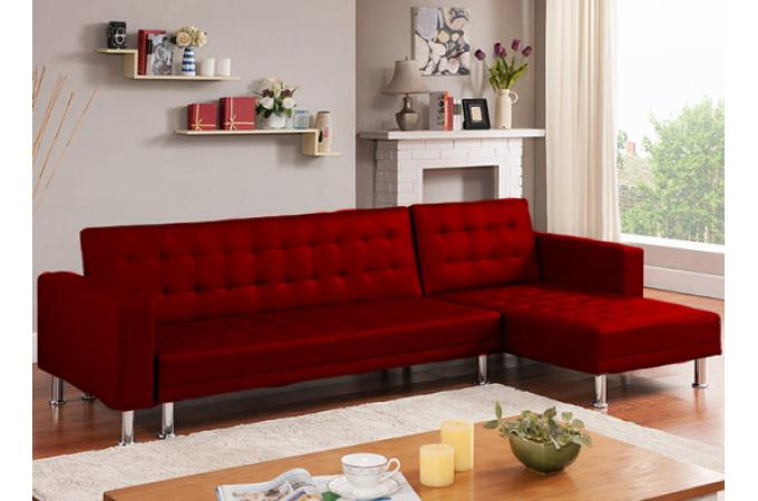 Canap d 39 angle convertible rouge los canap chesterfield for Canape baroque pas cher
