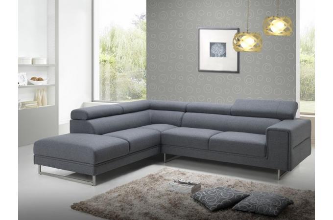 canap d 39 angle gauche gris en tissu bartolo canap d 39 angle pas cher. Black Bedroom Furniture Sets. Home Design Ideas