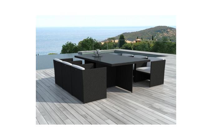 Table et chaises de jardin noires en r sine tress e alix for Table et chaise de jardin en resine tressee