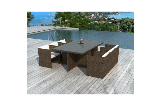 Table et chaises de jardin chocolats en r sine tress e for Table chaise jardin resine tressee