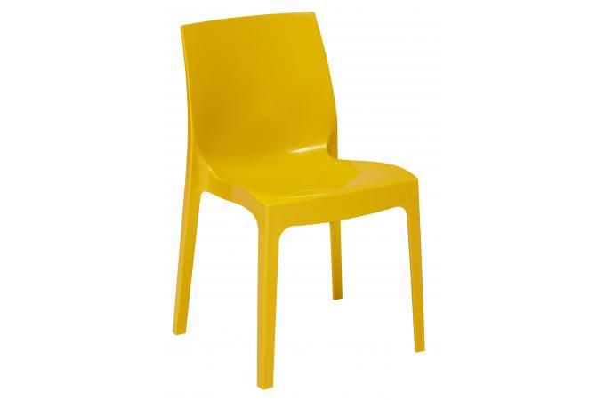 Chaise design jaune laqu e lady chaise design pas cher for Chaise jaune design
