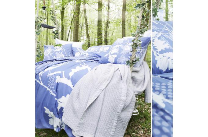 Housse de couette bleue coton imprim 220x240 cm sherwood for Housse de couette bleue