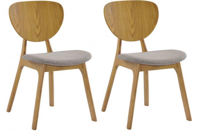 Lot de 2 chaises yann en bois h v a rev tement chocolat et for Chaise pas cher bois
