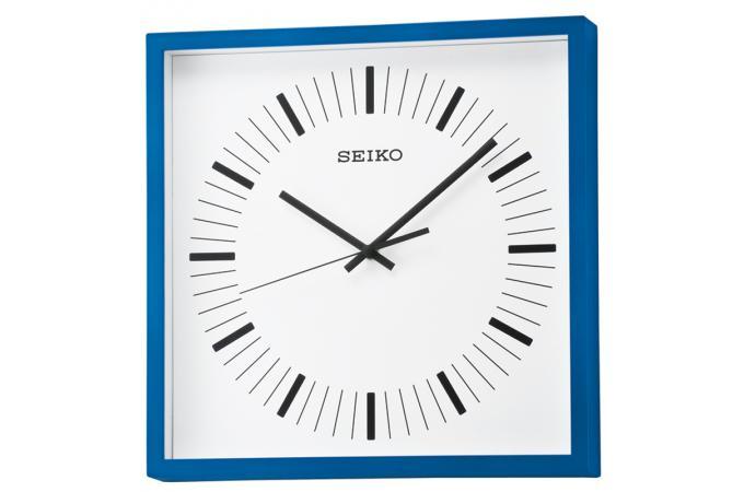 horloge murale carr e bleue horloge design pas cher. Black Bedroom Furniture Sets. Home Design Ideas