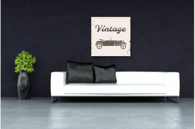 tableau retro voiture vintage 50x50 tableau baroque pas cher. Black Bedroom Furniture Sets. Home Design Ideas