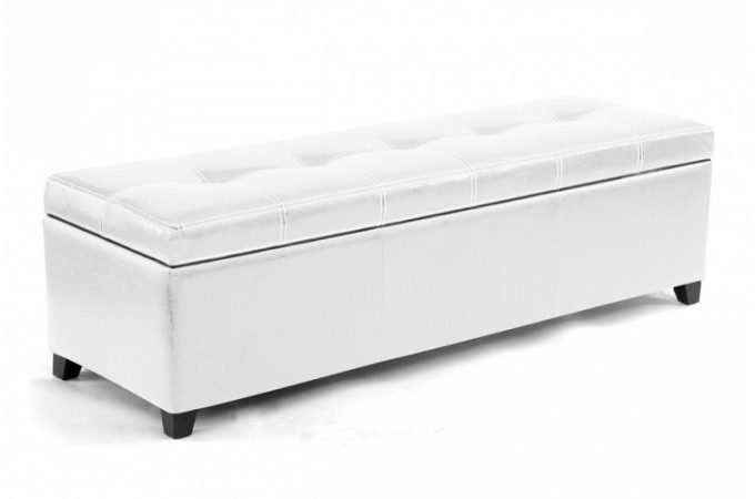 Banquette coffre blanc pas ch re for Canape 140 cm de large
