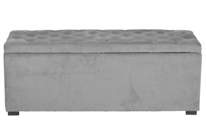 banquette coffre velours capitonn gris banquettes m ridiennes pas cher. Black Bedroom Furniture Sets. Home Design Ideas