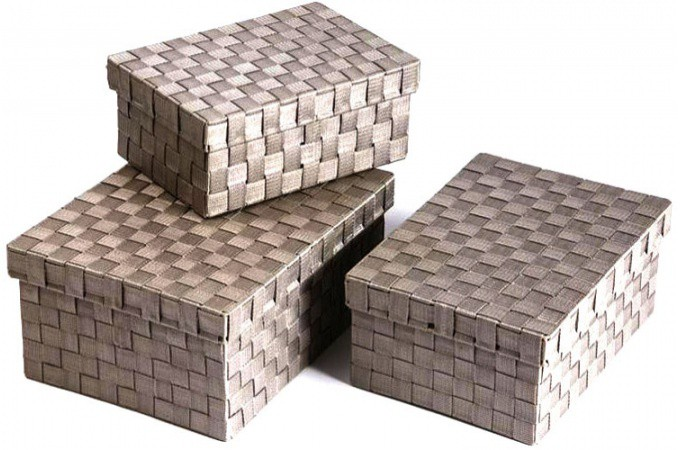 Lot de 3 boites de rangement nylon taupe turando bo tes - Boite de rangement carton pas cher ...