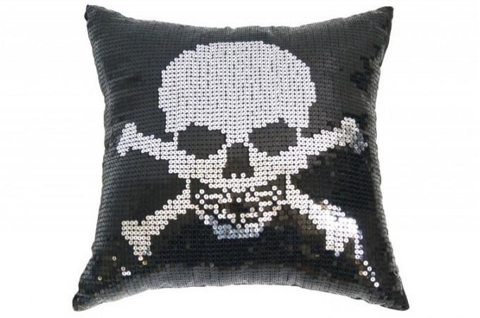 coussin paillette noir t te de mort coussins pas cher. Black Bedroom Furniture Sets. Home Design Ideas