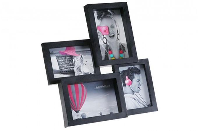 cadre 4 photos noir paolo cadres photos pas cher declik deco. Black Bedroom Furniture Sets. Home Design Ideas
