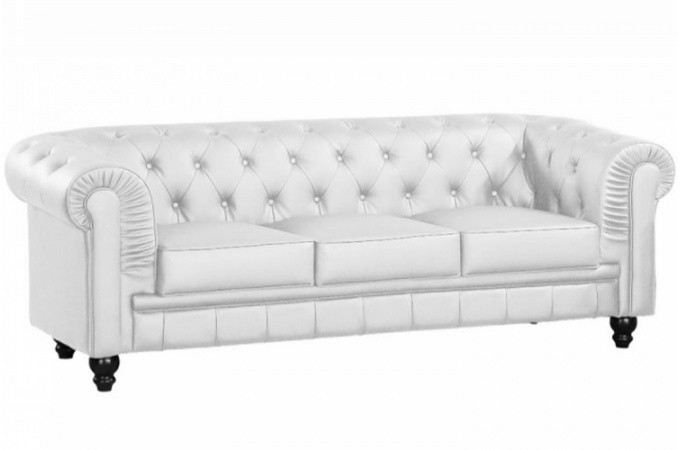 canap chesterfield cuir blanc capitonn 3 places. Black Bedroom Furniture Sets. Home Design Ideas