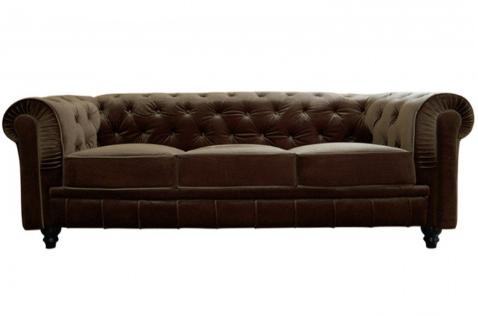 Canap chesterfield velours choco 3 places canap s 2 et 3 places pas cher - Canape capitonne design ...