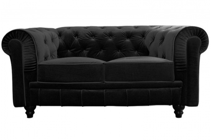 canap chesterfield velours capitonn noir 2 places declikdeco. Black Bedroom Furniture Sets. Home Design Ideas