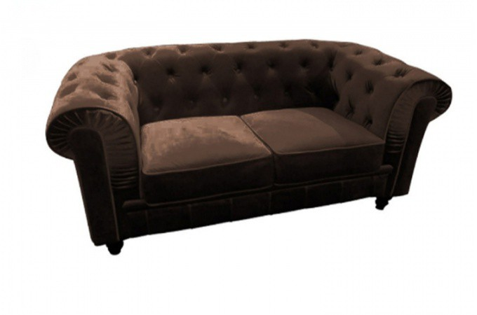 canap chesterfield velours capitonn choco 2 places declikdeco. Black Bedroom Furniture Sets. Home Design Ideas