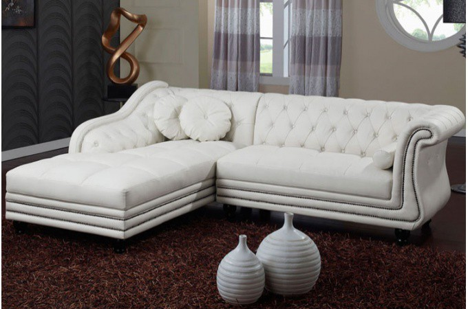 Canap d 39 angle gauche blanc chesterfield - Salon chesterfield pas cher ...