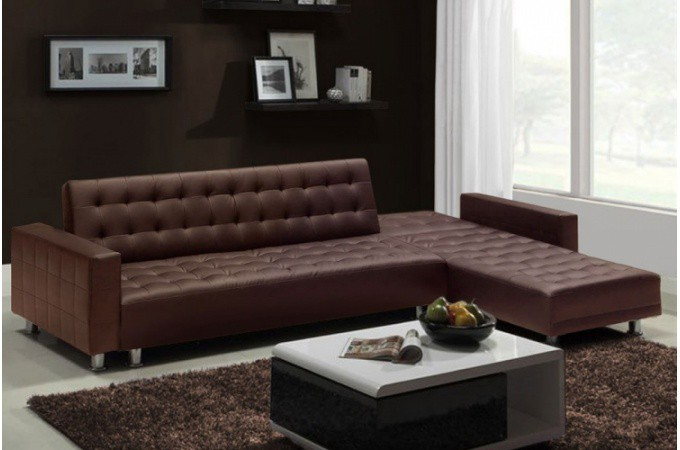 canap d 39 angle convertible pas cher marron. Black Bedroom Furniture Sets. Home Design Ideas