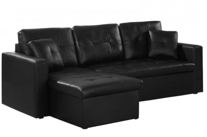 Canap d 39 angle convertible noir pas cher - Convertible simili cuir ...
