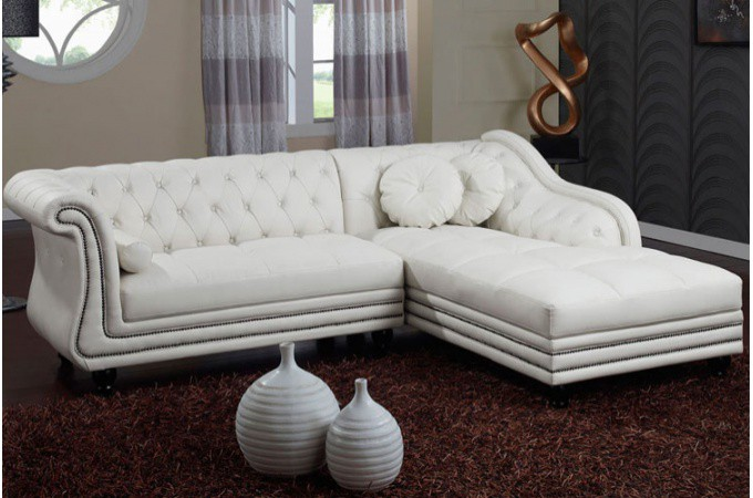 Canap d 39 angle droit blanc chesterfield declikdeco - Canape d angle chesterfield cuir ...