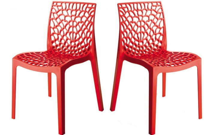 lot de 2 chaises design rouge gruyer chaises design pas cher. Black Bedroom Furniture Sets. Home Design Ideas