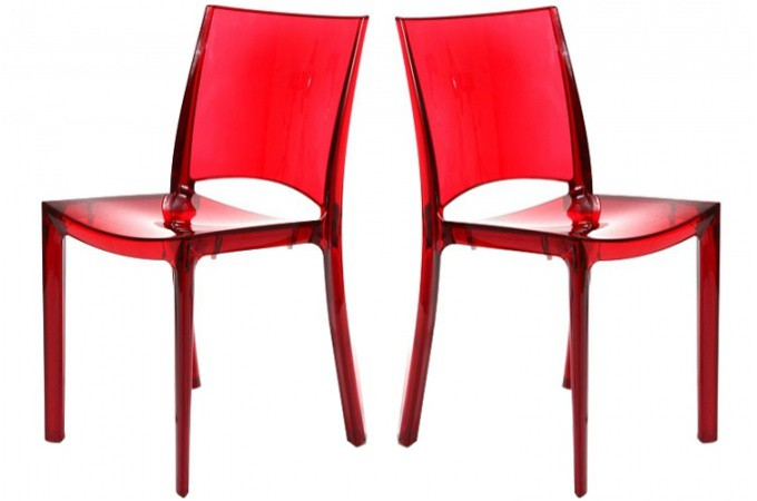 lot de 2 chaises rouge transparente crystal chaises. Black Bedroom Furniture Sets. Home Design Ideas