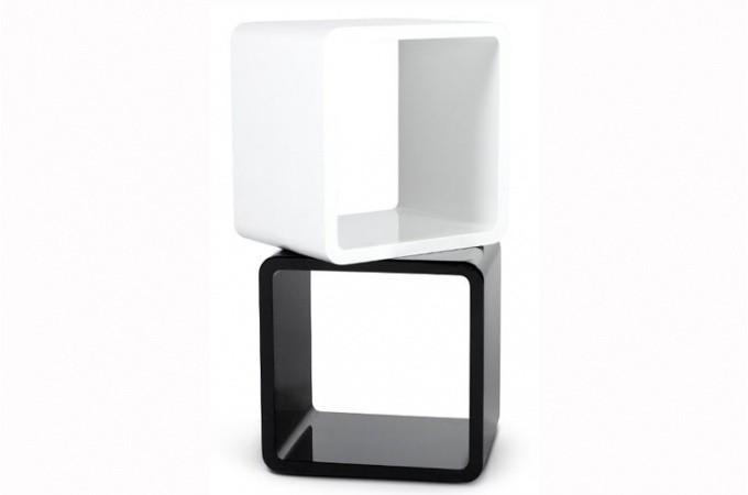 Chevet design cube blanc laqu tables de chevets pas cher - Table de nuit noir pas cher ...
