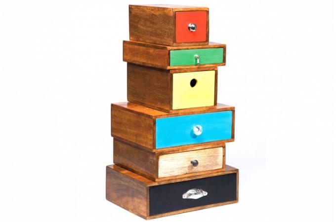 Commode 6 tiroirs multicolores cam l on 72 cm commode pas cher - Commode tiroirs multicolores ...
