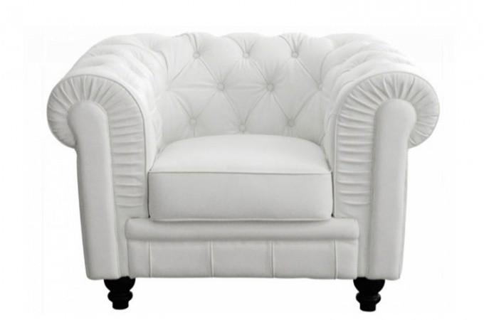 fauteuil chesterfield cuir blanc fauteuils classiques pas cher. Black Bedroom Furniture Sets. Home Design Ideas
