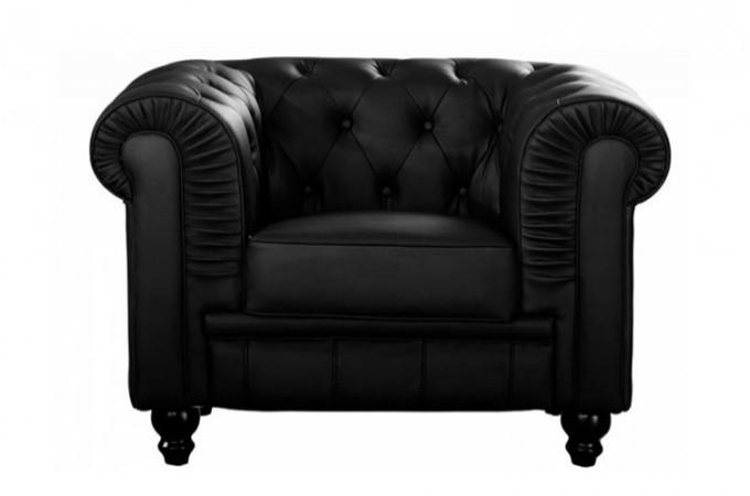 fauteuil chesterfield simili cuir noir fauteuils classiques pas cher. Black Bedroom Furniture Sets. Home Design Ideas
