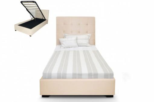 lit coffre avec t te de lit capitonn e en cuir beige lit. Black Bedroom Furniture Sets. Home Design Ideas