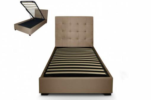 Lit coffre avec t te de lit capitonn e en cuir taupe lit for Lit avec tete de lit capitonnee