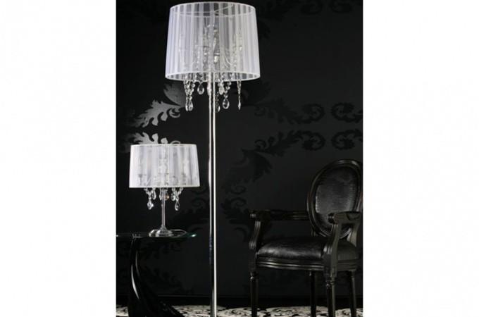Lampe baroque avec pampille blanc lampadaires pas cher - Lustre baroque pas cher ...