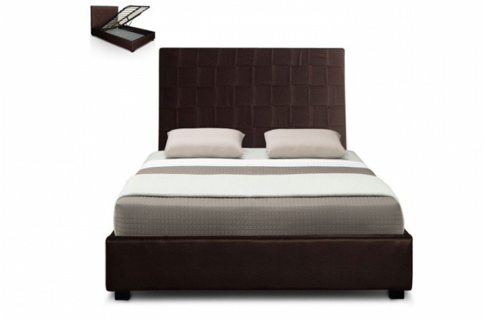 lit coffre en simili cuir choco kal o 140x190 cm lit design pas cher. Black Bedroom Furniture Sets. Home Design Ideas