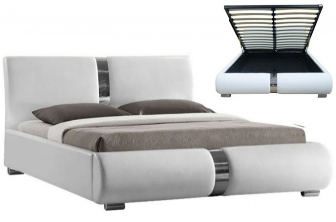 lit coffre sommier relevable blanc vitara 140 cm lits design pas cher. Black Bedroom Furniture Sets. Home Design Ideas