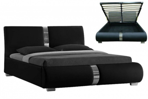 lit coffre sommier relevable noir vitara 160 cm lits design pas cher. Black Bedroom Furniture Sets. Home Design Ideas