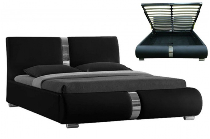 lit coffre sommier relevable noir vitara 160 cm lits design pas cher. Black Bedroom Furniture Sets. Home Design Ideas